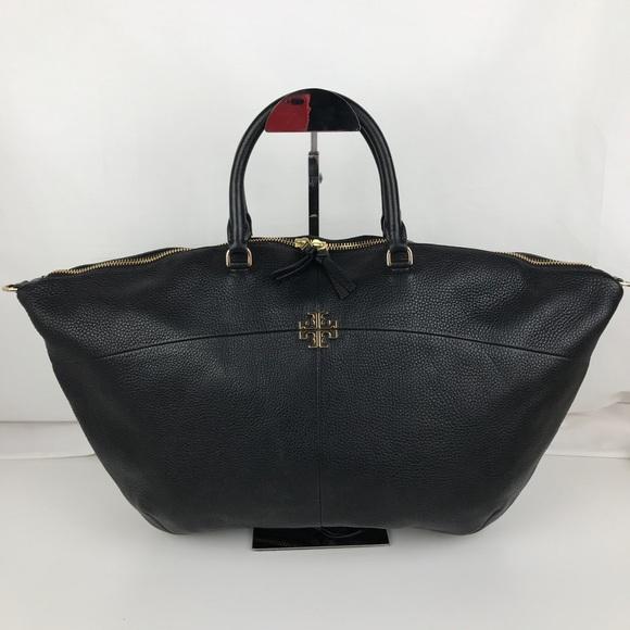 cc082e62f178 Tory Burch Ivy Black Leather Slouchy Satchel 32163